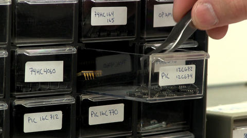 Electronic component bins Footage