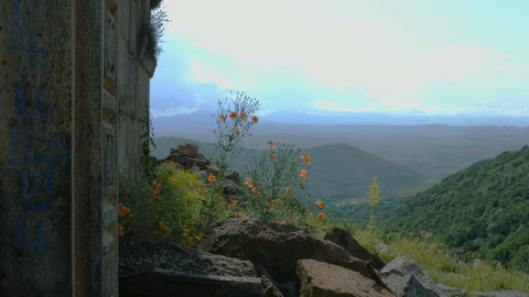 Beautiful Countryside From Mountain Building Footage