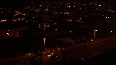 Busy Road Overlooking Urban City at Nighttime Footage