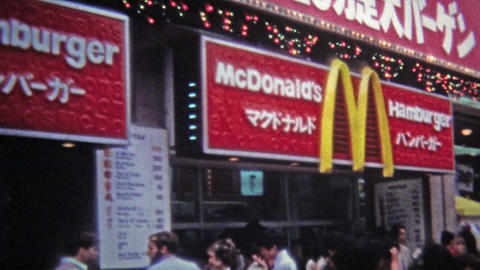1972: McDonalds hamburgers sold at one of the 1st foreign franchises Footage