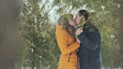 Romantic couple kissing in forest Footage