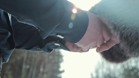 Love - romantic couple holding hands Footage