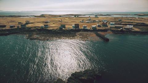 Flight along the coast of the island Vigur Footage