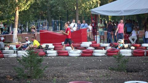 Amateur racing karting, leisure park visitors Live Action