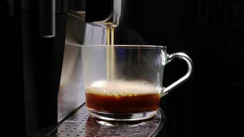 Coffee Machine Making Espresso into a Transparent Cap Footage