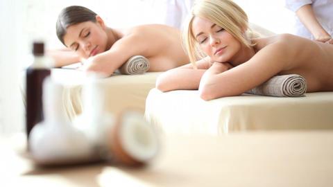Two women getting massage Footage