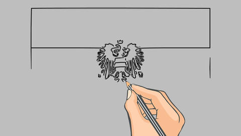 Hand drawn flag of Austria animation Footage