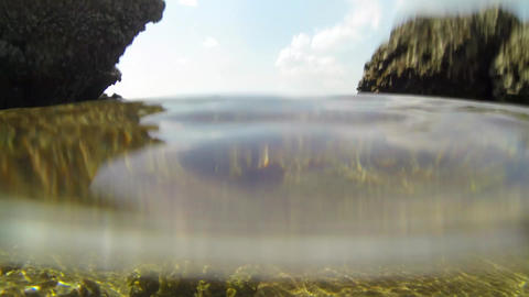 Water level rising and lowering in a tidal pool Footage