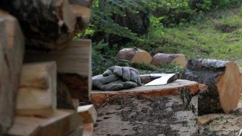 Axe and work gloves on a wood chopping block Footage