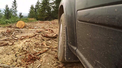 Offroader Overcomes Obstacle on a Dirt Road in the Forest Footage