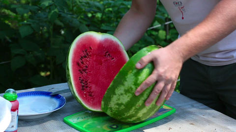 Ripe Watermelon stock footage