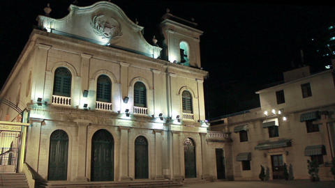 St. Lazarus Portuguese colonial church in Macau at night Footage