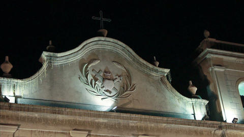 Symbol Of St. Lazarus Church In Macau At Night stock footage