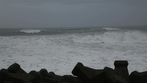Stormy sea with breakers in foreground Footage
