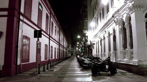 St. Lazarus Quarter area in Macau at night Footage
