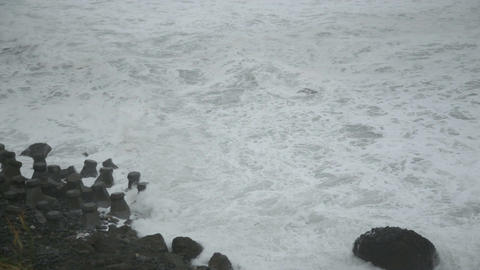 Rough Sea During Storm From Above stock footage