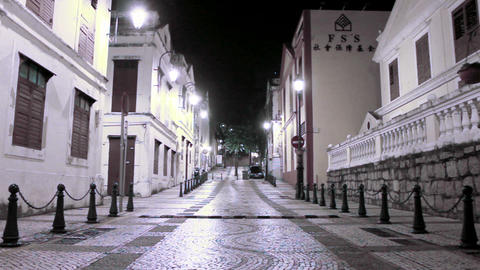 Macau - 22 November 2013: St. Lazarus district area at night Footage