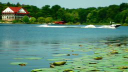 Water Ski On The Lake, Pan Footage