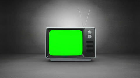 Old fashioned tv with green screen CG動画素材
