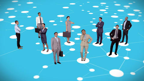 Business people standing on connecting lines Animation