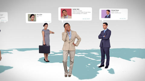 Business people with profile info standing on map Animation