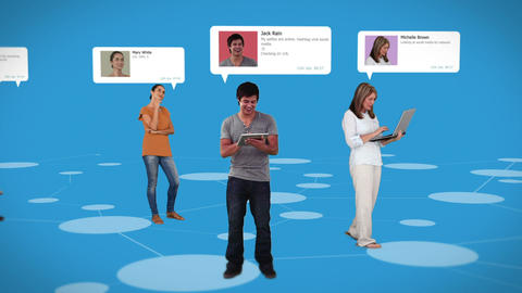 Casual people standing on connecting lines with profile info Animation