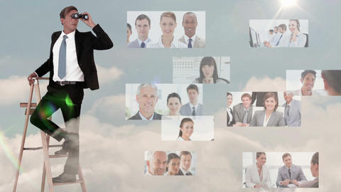 Businessman searching for new employees Animation