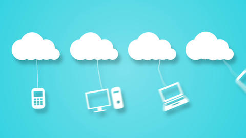 Cloud computing concept with apps Animation