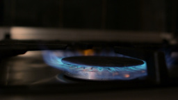 Gas stove with flame turning on Footage