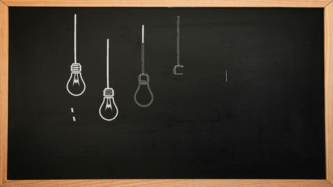 Light Bulbs Appearing On Chalkboard stock footage