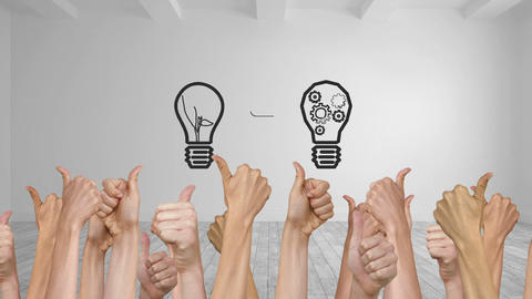 Light Bulb Appearing With Many Thumbs Up stock footage