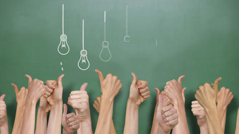 Light Bulbs With Many Thumbs Up stock footage