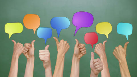 Speech Bubbles With Many Thumbs Up stock footage