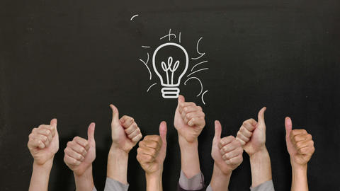 Light Bulb With Many Thumbs Up stock footage