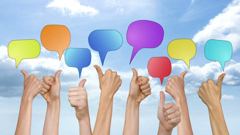 Many thumbs up against blue sky with speech bubbles Animation
