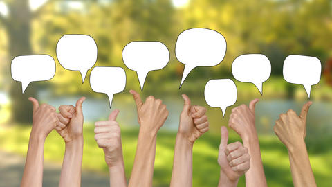 Many thumbs up against nature scene with speech bubbles Animation