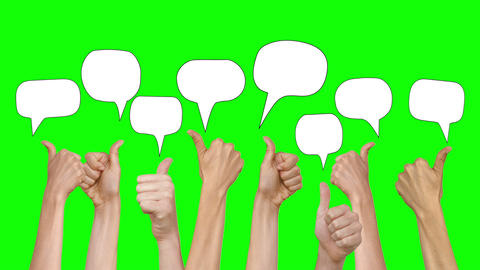Many hands showing thumbs up with speech bubbles Live Action