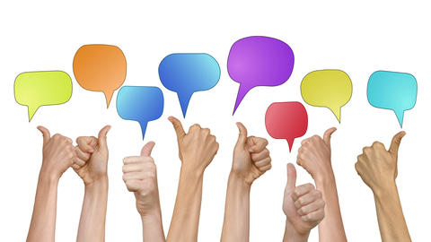 Many hands showing thumbs up with speech bubbles Footage