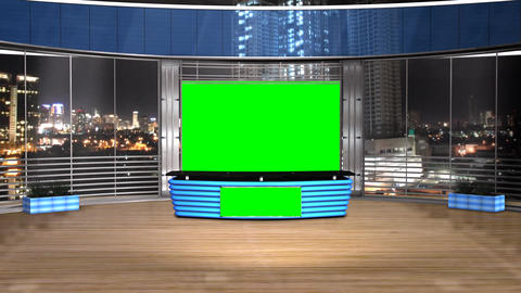 Virtual Studio News Broadcast Television Blue Color stock footage