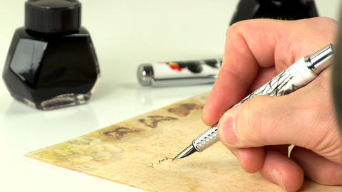 Hand writing with fountain pen Live Action