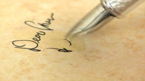 Macro fountain pen writing 2 Footage