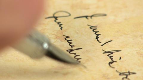 Macro fountain pen writing 5 Footage