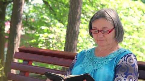 Elderly woman reading bible outdoors 2 Footage