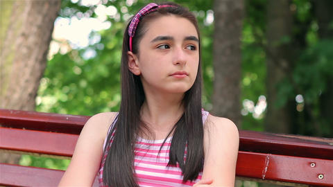 Sad child girl Footage