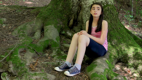 Scared Girl Lost In Forest 1 stock footage
