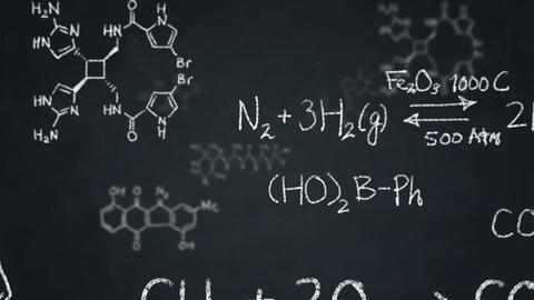 Chemistry formulas and structures floating on a chalkboard Animation