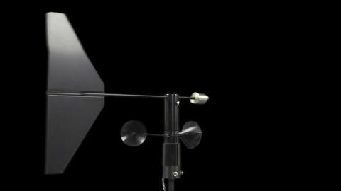 Anemometer sensor changes direction green screen pre-keyed alpha transparent cha Footage