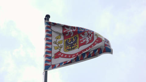 The Old Flag Of Prague. 4K stock footage