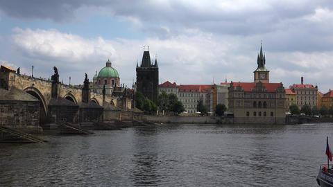 Charles Bridge in Prague. 4K Footage