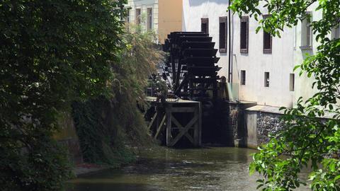 Waterwheel mill in Prague. 4K Footage